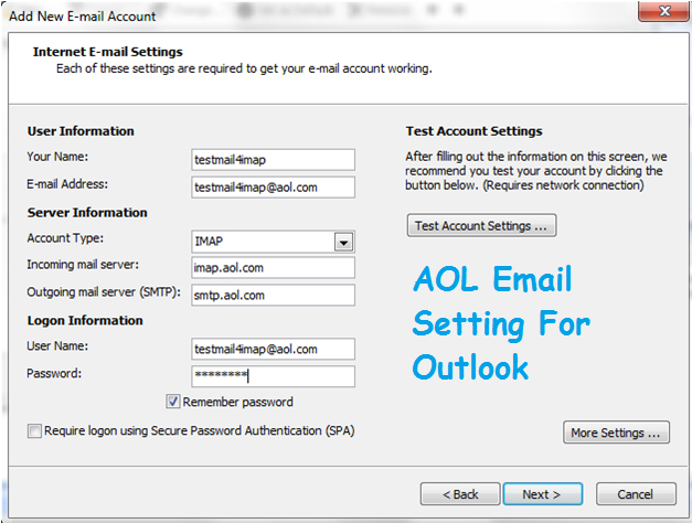 AOL Mail Settings for Outlook